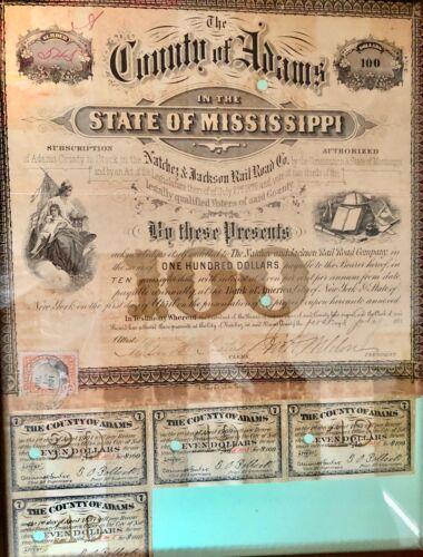 1870 NATCHEZ & JACKSON MISSISSIPPI RAILROAD BOND ADAMS COUNTY 1871 REVENUE STAMP