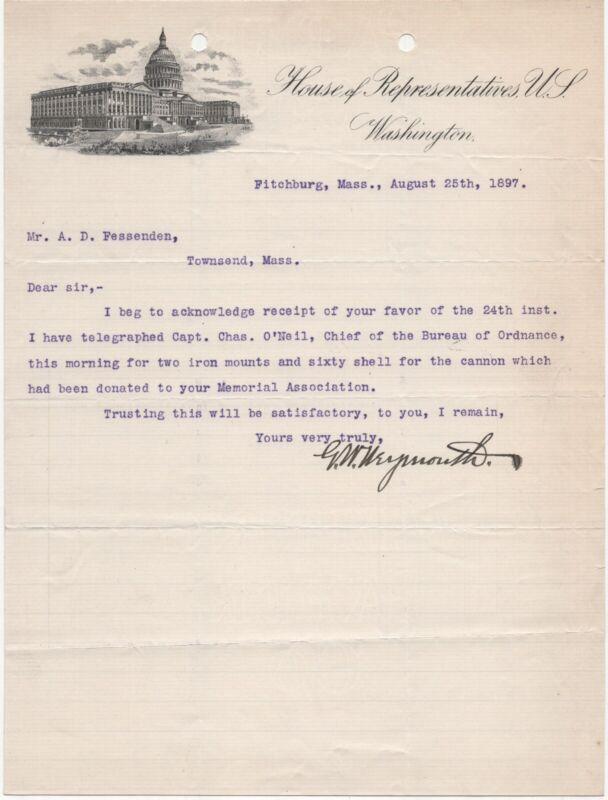 1897 HOUSE REPRESENTATIVES WASHINGTON DC SIGNED WEYMOUTH MA GAR MEMORIAL CANNON