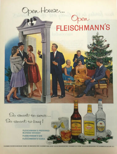 Fleischmanns Whiskey Gin Vodka Magazine Print Ad Vintage Liquor Christmas 1962