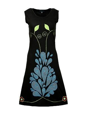 Contemporary Print Kleid (Sleeveless Black with Colorful Contemporary Print and Embroidery)