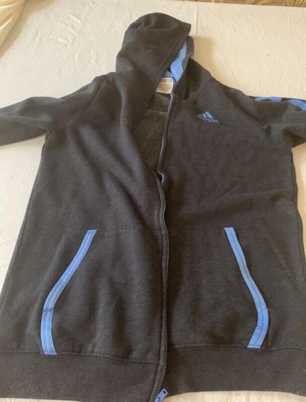 Adidas Jacket Youth Boys  large 14-16 Full Zip Hoodie Gray / blue fleece
