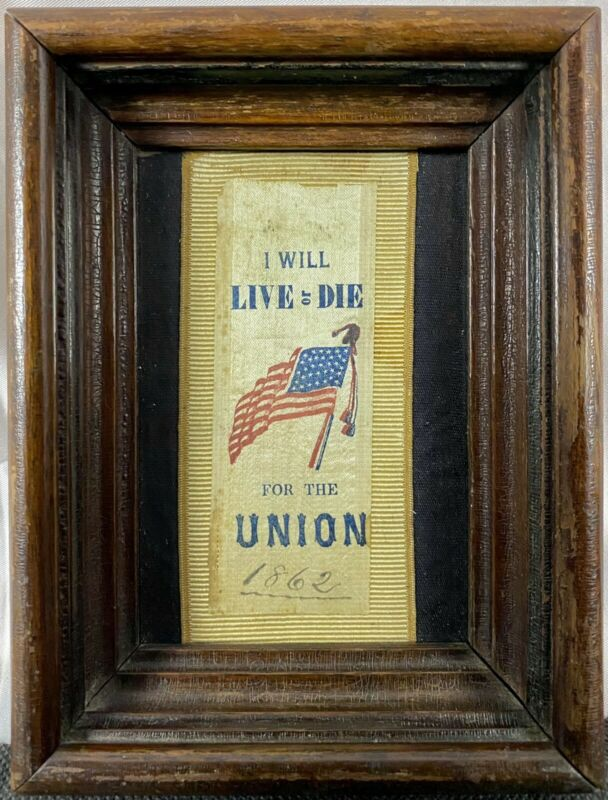 RARE Original 1862 Civil War Silk Ribbon I WILL LIVE OR DIE FOR THE UNION Flag