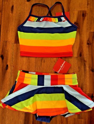 NWT Girl Hanna Andersson 110 US 5 Tankini Swimsuit Swim Suit Rainbow Striped NEW