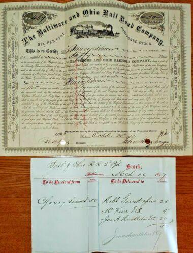 1877 B & O Railroad  6% Preferred 2nd Series  Stock Certificate & Receipt