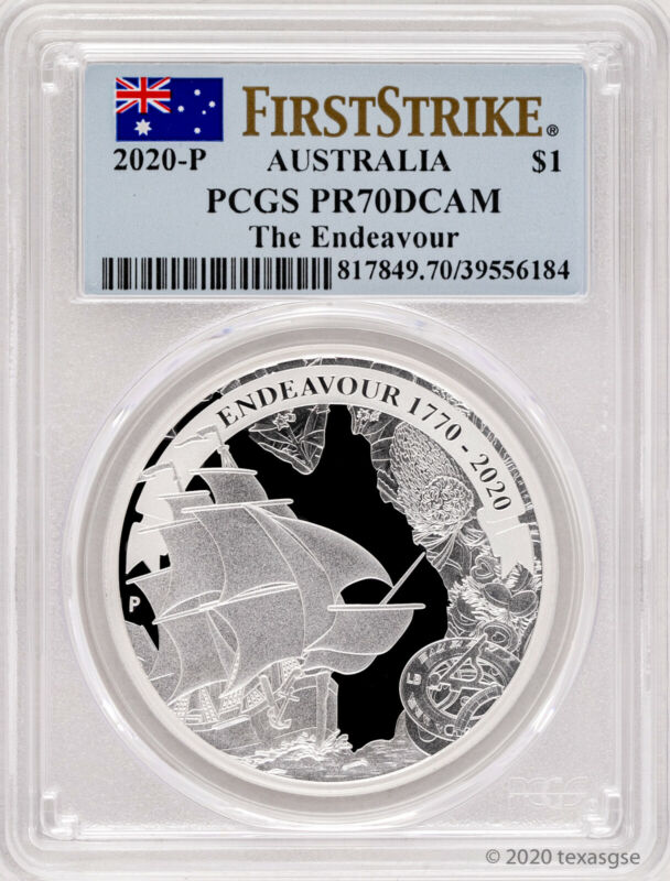 2020 Australia $1 Voyage of Discovery Endeavour 1oz Silver Proof Coin -  PR70 FS
