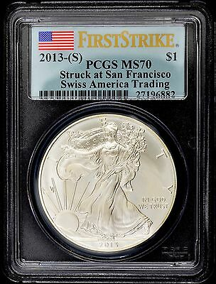 "2013 ""S"" PCGS MS70 First Strike Swiss America Silver Eagle (d27l)"