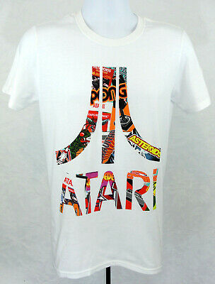 Atari Official Brand T Shirt Mens Size Small White Graphic Big Logo New
