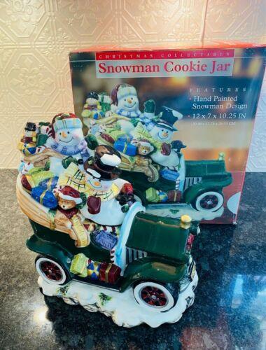 Snowman Sleigh Ride Cookie Jar NIB Christmas Vintage