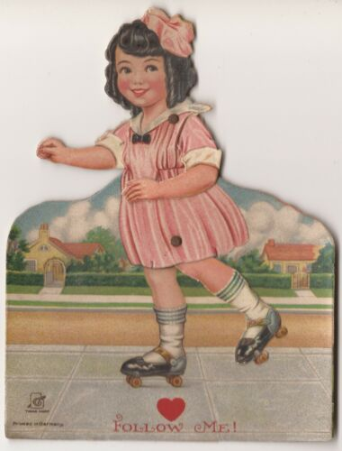 EARLY ROLLER SKATE GIRL VALENTINE, MECHANICAL ARMS & LEGS, GERMANY