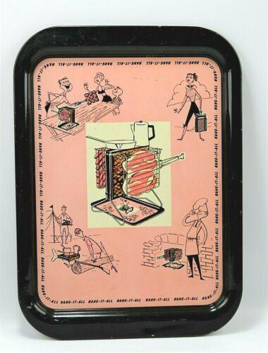 "Vtg Mid Century Tin Tray "" HANG IT ALL ""BBQ Grill Pink & Black"