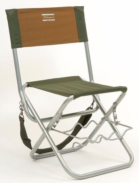 Shakespeare Folding Chair With Adjustable Rod Rest Lightweight Fishing Luggage