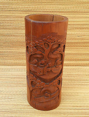 Antique Pot in Bamboo Carved Asian Art Pop Deco Vintage, French Antique