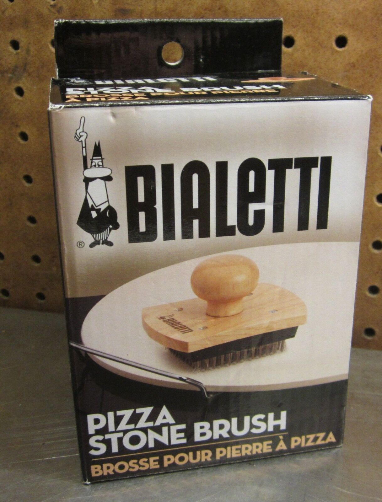 Bialetti Wooden Pizza Stone Cleaning Brush - NEW 07329 Stain