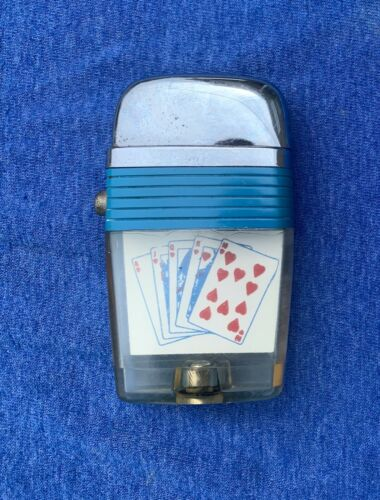 Vintage SCRIPTO VU Lighter  Royal Flush Poker Hand