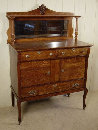 Antique Oak Server / Buffet with mirror