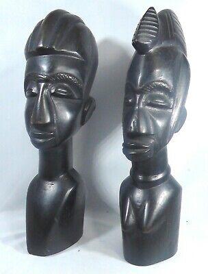 VINTAGE PAIR OF AFRICAN BLACK HEADS Black Ebony, Tall 9.5