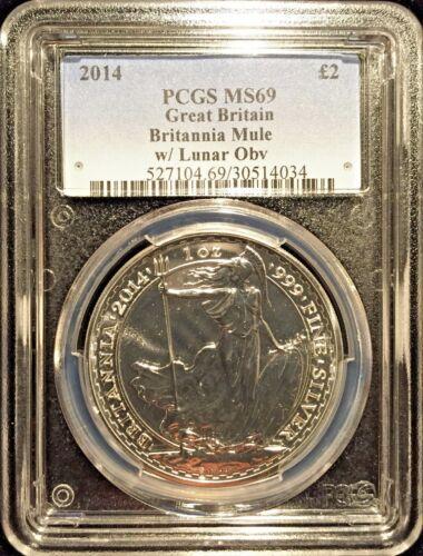 *2014 UK Britannia Lunar Mule £2 Silver 1oz PCGS MS69 Mule Error RARE-POP 16*