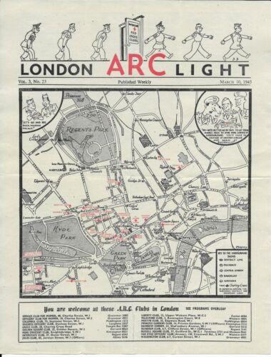 American Red Cross in London ARC Light WW II Weekly Clubs Program March 10, 1945