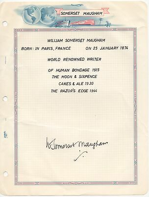 W. Somerset Maugham - English Playwright, Novelist - Autographed Display