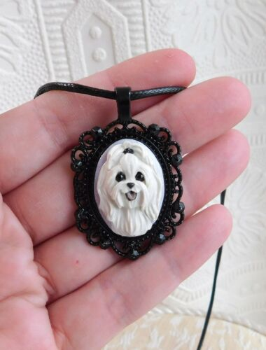 Maltese Necklace Sculpted Clay Pendant by Raquel  Furever Clay dog lover jewelry