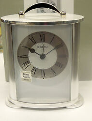 SEIKO - SILVER TONE METAL CASE TRADITIONAL CARRIAGE STYLE ALARM CLOCK QHE092SLH