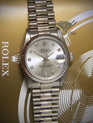 Rolex Datejust President 18k White Gold Diamond Dial Ladies Midsize Watch 68279