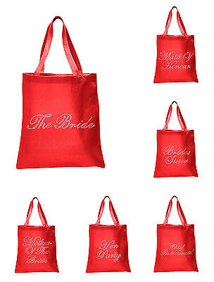 Red Crystal Wedding Favour Tote Bags personalised bridal  hen party gift bags](Wedding Tote Bags)