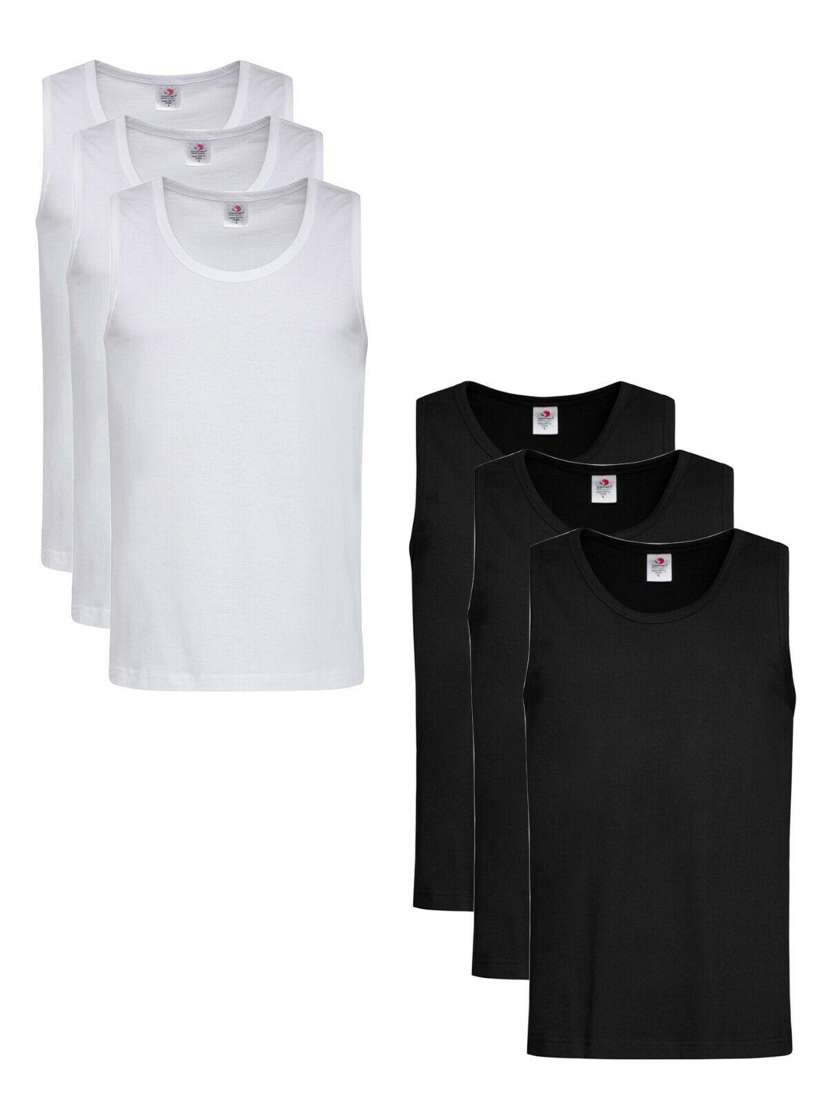 3-Pack Stedman BLACK or WHITE Cotton Tank Tops Vest Sleevele