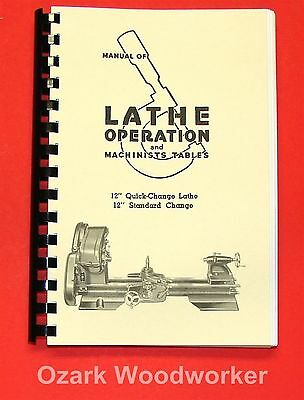 """Atlas Craftsman Manual of Lathe Operation Book for 12"""" Older Style 0036"""