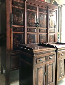 Teakwood handcrafted Armoire and End Tables