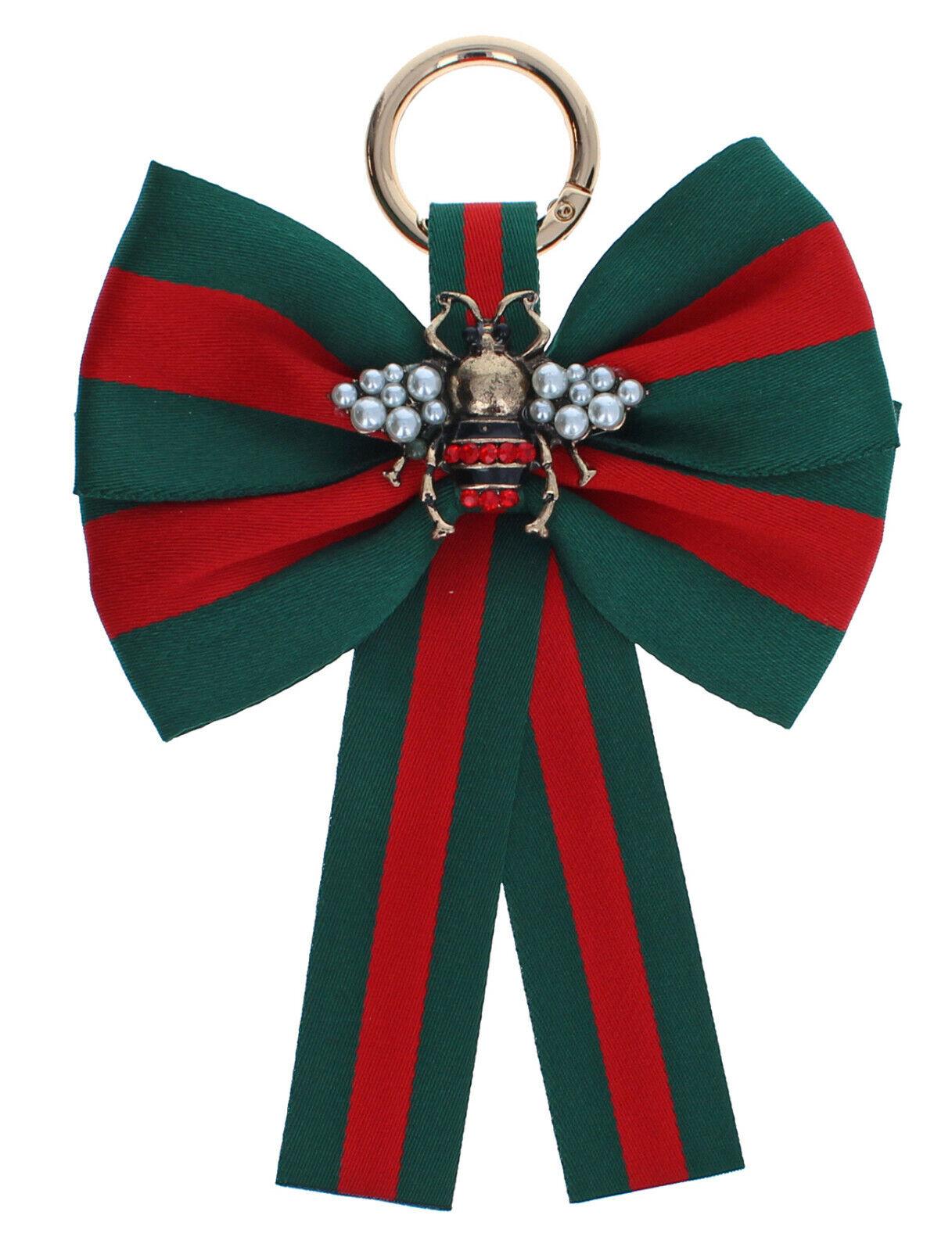 Taschenanhänger für Handtasche Schleife mit Biene Strass Perlen grün rot gold