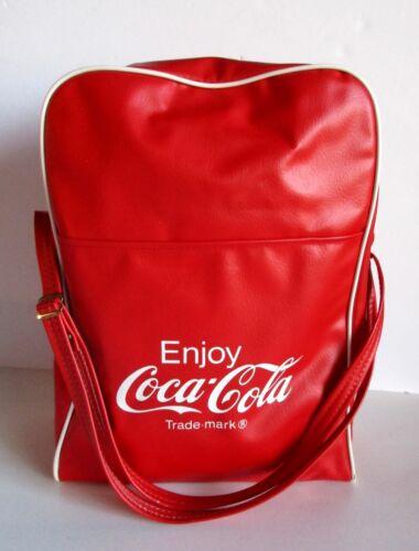 "Vintage Coca Cola Tote Shoulder Bag Lunch PVC Vinyl Red Bottom Name Tag 14"" Zip"