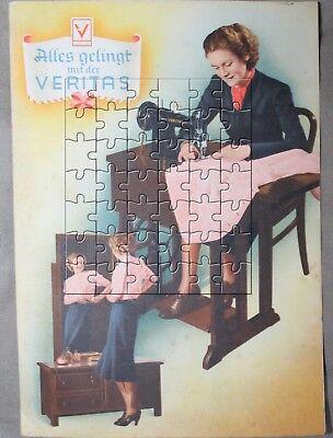 Veritas Nähmaschine 6-seitiges Prospekt farbig 40er/50er Clemens Müller Dresden