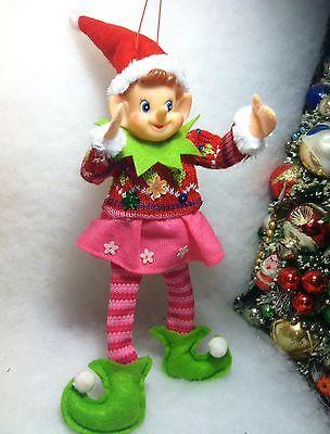 Pink Pixie Elf  Flower Sweater, skirt  Christmas Tree Ornament felt  Knee hugger