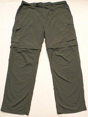 Columbia Convertible Omni Shade Cargo Pants Zip Off Shorts & Belt, Mens Sz 40X32