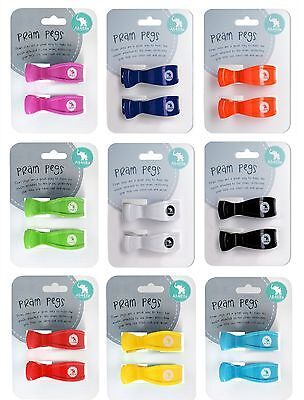 Pram Pegs 2 Pack  | 14 Twin Pack Colours | Pram Clips | Baby Shower Gift Idea  - Twins Baby Shower Ideas