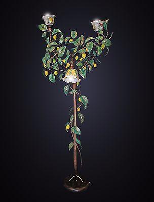 Piantana lampada da terra ferro battuto 3L mod. limoni ceramica di calatagirone