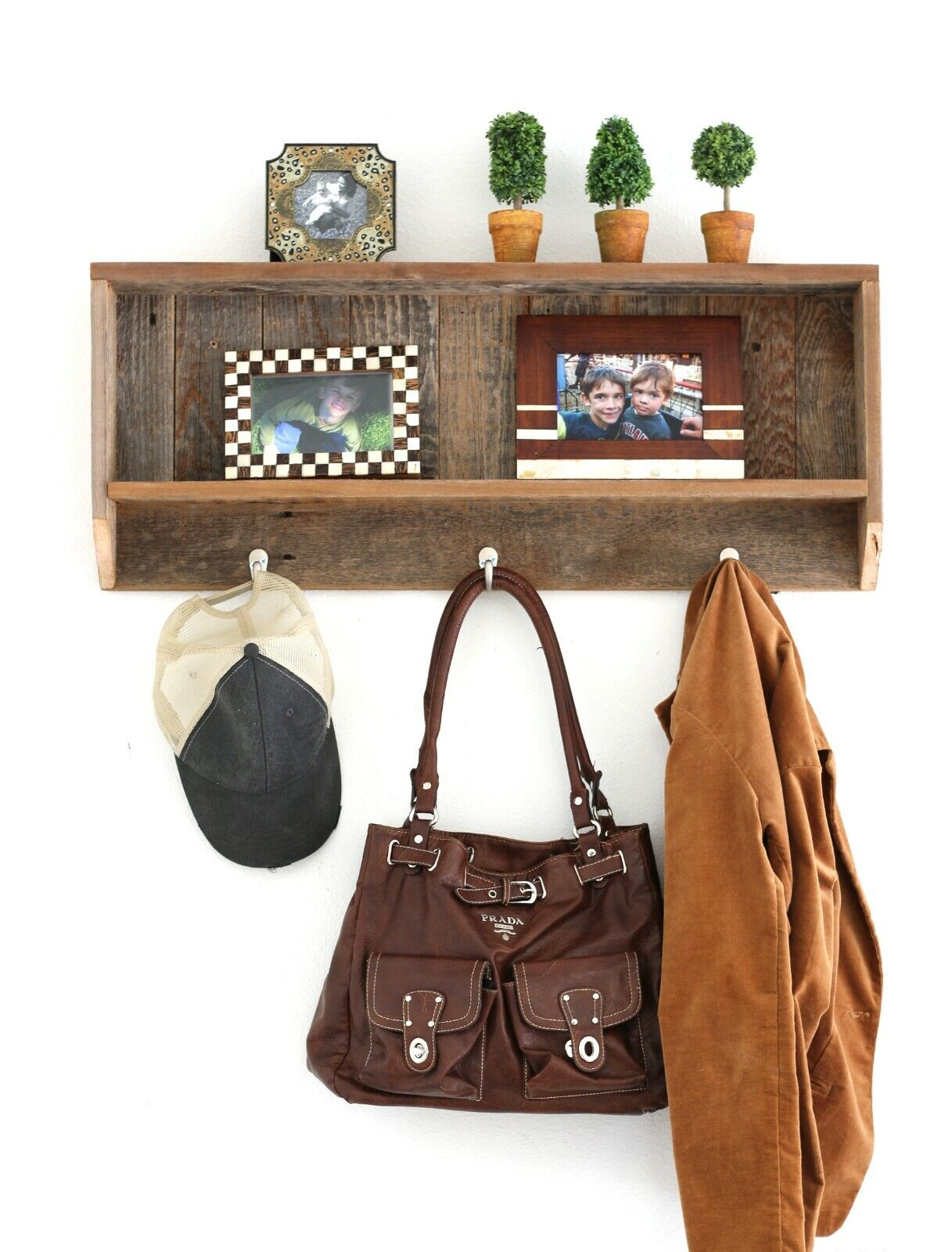 Rustic Wood Entry Shelf With Hooks