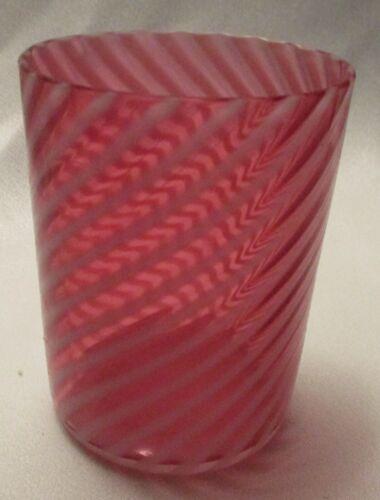 Fenton Art Glass Hand Blown Opalescent Swirl On Cranberry Tumbler Vintage Piece