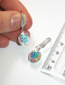 Vintage Swarovski Aurora Borealis crystal silver pave formal dangle earrings