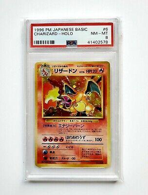 1996 Pokemon Japanese Basic Charizard Holo #006 PSA 8 Strong NM-Mint