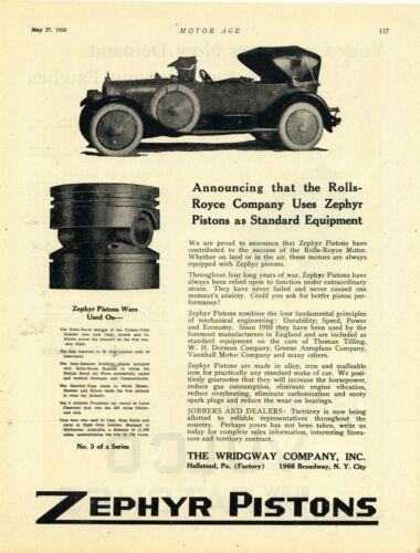 1920 Wridgway Co Ad: Rolls Royce Auto w/ Zephyr Pistons - Hallstead Pennsylvania