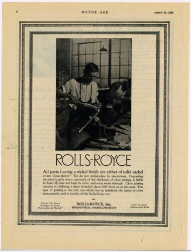 1922 Rolls Royce Automobile Ad: Pic of Factory Inside- Springfield Massachusetts