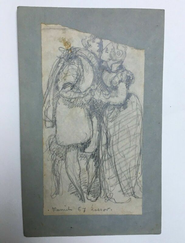 Old drawing signed Lossov, Dated 67, Couple, Kiss, 19th century