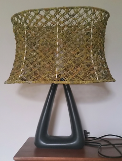 Boho Decor Elegant Table Lamp With A Handmade Olive Makrame Shad