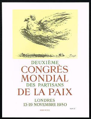 1960s Vintage Pablo Picasso Congres Mondial Paix Dove Bird Poster Art Print