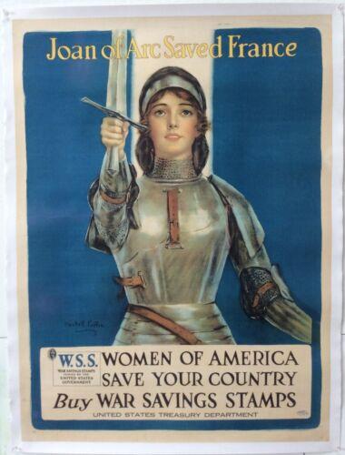 "Big Vintage 1918 Poster Joan of Arc Saved France (40.5"" X 30"") Haskell Coffin"