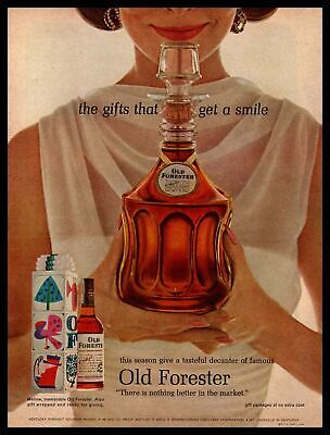 1963 Old Forester Bourbon Whiskey Christmas Box Gift Decanter Vintage Print Ad