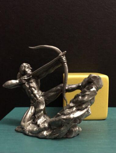 Hudson Pewter Metal Native American Indian Battle Warrior Hunter Bow Figurine