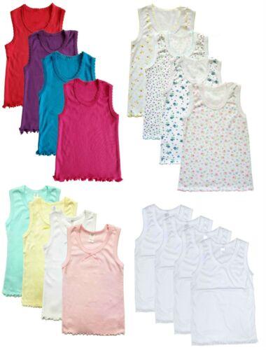 4 Pack Girls Tank Top Cami Regular Straps Undershirts 100% Cotton Toddler Baby